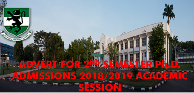 ADVERT FOR SECOND SEMESTER Ph.D ADMISSIONS 2018/2019 ACADEMIC SESSION