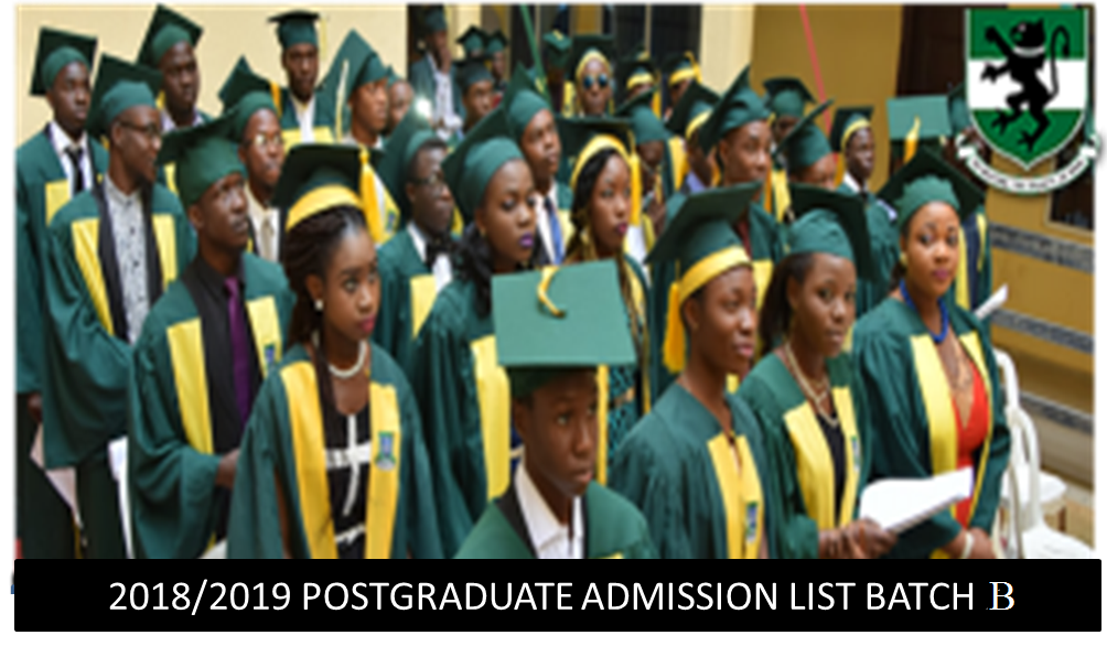 2018/2019 POSTGRADUATE ADMISSION LIST BATCH B
