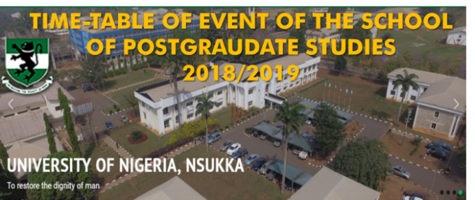 APPROVED TIME-TABLE OF EVENTS OF THE SCHOOL OF POSTGRADUATE STUDIES FOR 2018/2019 ACADEMIC SESSION