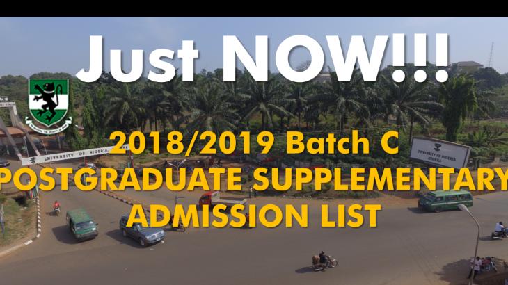 2018/2019 POSTGRADUATE ADMISSION LIST BATCH C
