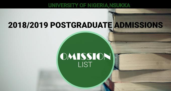 Omission List: 2018/2019 Postgraduate Admission