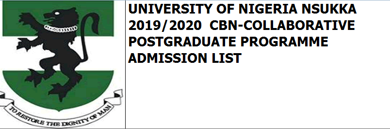 2019/2020 CBN-COLLABORATIVE POSTGRADUATE PROGRAMME ADMISSIONS LIST