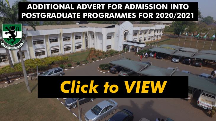 ADDITIONAL ADVERT FOR ADMISSION INTO POSTGRADUATE PROGRAMMES FOR THE 2020/2021 SESSION