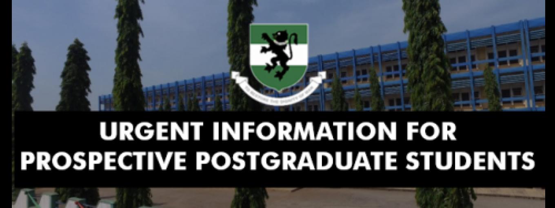 URGENT INFORMATION FOR PROSPECTIVE POSTGRADUATE STUDENTS