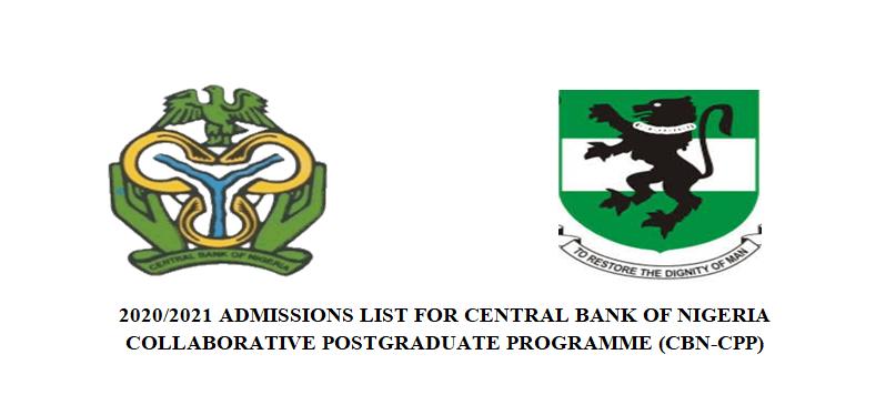 2020/2021 ADMISSIONS LIST FOR CBN-COLLABORATIVE POSTGRADUATE PROGRAMME